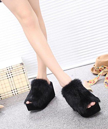 Otoño Negro Zapatillas Chanclas Libre Zapato Dedo de Abierto cuña Gris Invierno Aire y DANDANJIE caseros Zapatillas de de al Zapatos Negro Mujer Rojo a7TqSSPwY