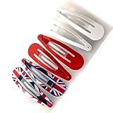 Set 6 hair-clip 'So British' red white blue (5 cm (0.00'') ).