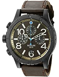 Nixon Mens A3632209 48-20 Chrono Leather Analog Display Japanese Quartz Brown Watch