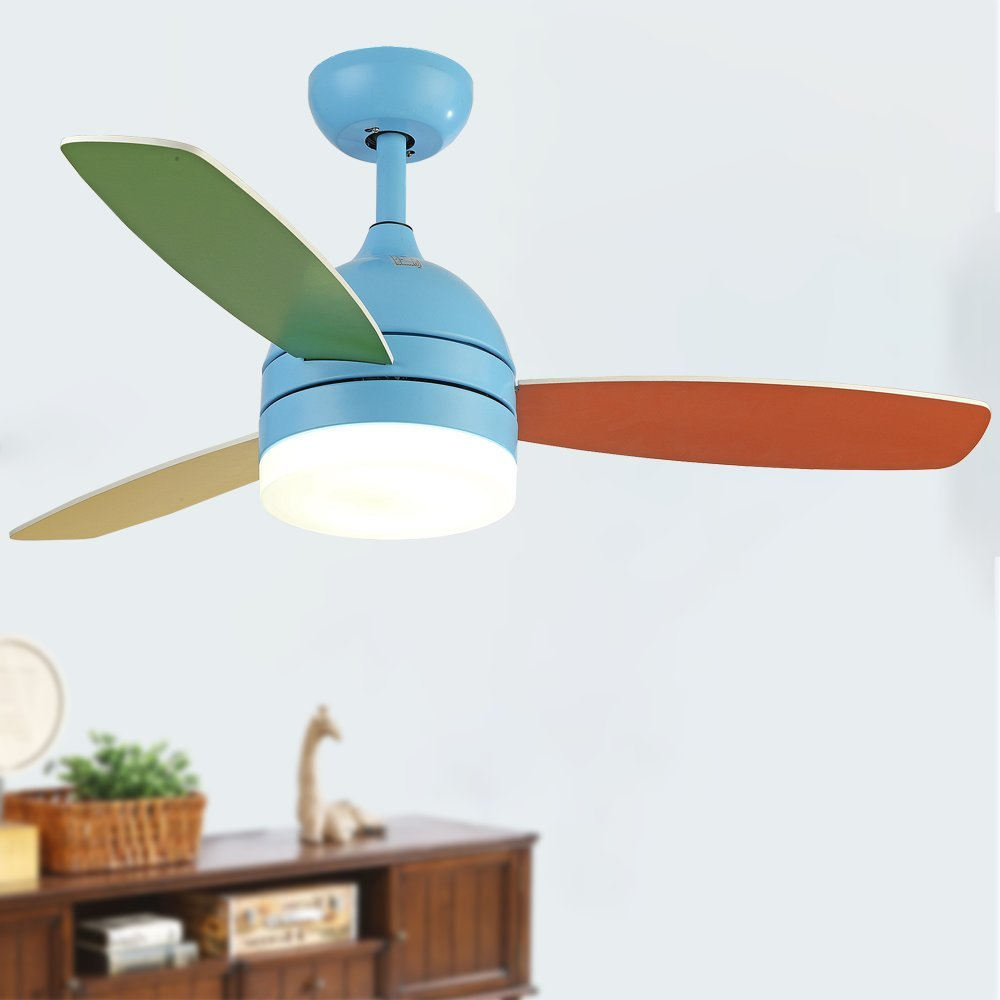 Andersonlight Children Ceiling Fan LED Light Kit 3 Acrylic Blades Remote Control Variable Speed Copper Mute Motor Metal Spray paint Finish Pink 42 inch (blue) by Andersonlight (Image #1)