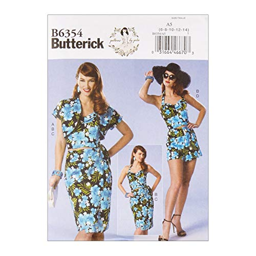 (Butterick B6354 Patterns by Gertie Petite Bolero Bustier Sarong & Shorts E5 (SZ 14-22))