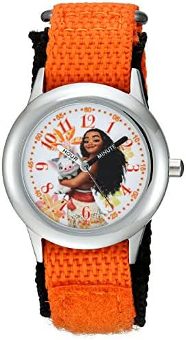Disney Girl's 'Moana' Quartz Stainless Steel and Nylon Casual Watch, Color:Orange (Model: WDS000035)