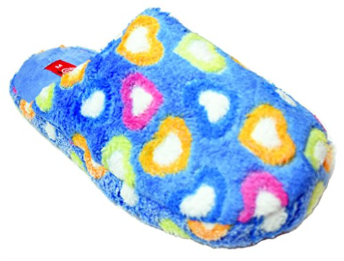 Pink Easy Brown Slip Orange Blue Size Blue 11 Slippers 5 Womens Heart Print On Fur Scuff Faux qBvqp