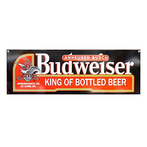 Budweiser King of Bottled Beer Black Label - Reproduction Vintage Advertising Sign - Metal Wall Mounted - 24 x 8 inches (Label Tin Budweiser Sign)