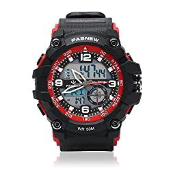 Teenagers Sport Watch | Multifunctional Wrist Clock | Analog Quartz & Digital Display | Dual Time Zone | Water Resistant | EL Backlight | Stopwatch | 3 Alarms | Chime | PU Strap for Boys Girls RED