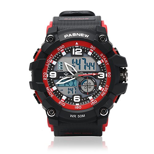 Teenagers Sport Watch   Multifunctional Wrist Clock   Analog Quartz   Digital Display   Dual Time Zone   Water Resistant   El Backlight   Stopwatch   3 Alarms   Chime   Pu Strap For Boys Girls Red