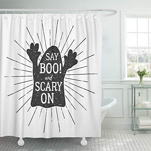 Abaysto Halloween Label Text Say Boo and Scary on with Retro Effect for Holiday Decor Shower Curtain Sets with Hooks Polyester Fabric Great Gift -