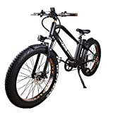 NAKTTO 26' 500W Electric Bicycle Fat Tire Mountain EBike 6 Speeds Gear, Removable 48V12A Lithium Battery Smart Multi Function LED Display - with 48V12A Lithium Battery