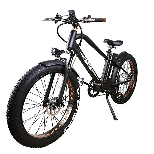 """NAKTTO 26"""" 500W Electric Bicycle Fat Tire Mountain EBike 6 Speeds Gear, Removable 48V12A Lithium Battery Smart Multi Function LED Display - with 48V12A Lithium Battery"""