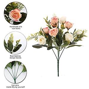 Aurdo Artificial Flowers, Fake Silk Vintage Rose Flowers Bouquet for Room, Kitchen, Garden, Wedding, Party Decor (2 Pack) … 3