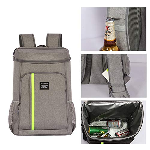 JHhome Insulated Cooler Backpack 30 Cans Lightweight Backpack Leakproof Soft Cooler Bag Large Capacity with Opener for Men Women to Picnics,Travel,Camping,Hiking,Beach,Park Day Trips Grey