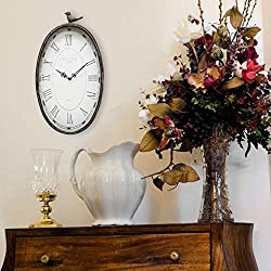 Black Grey Oval Wall Clock White Rustic Farmhouse Theme Roman Numerals Frame for Office Living Area Bedroom, Metal