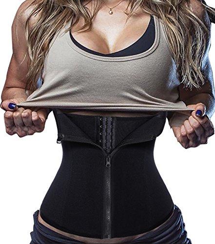 BRABIC Women's Tummy Control Waist Trainer Corset Sport Cincher Body Shaper with Zipper (M, Black Corset)