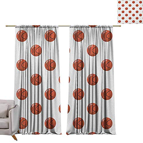 berrly Grommet Blackout Curtains Basketball,Cartoon Classical Balls Competition Scoring Professional Tournament, Cinnamon Black White W84 x L96 Art Drapery Panels
