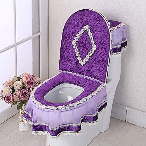 便座クッションセット、 U 型浴室セットジッパーレース洗えるトイレカバースリーピース、トイレリングパッド/トイレカバー装飾カバー/トイレタンクカバー。 (H)