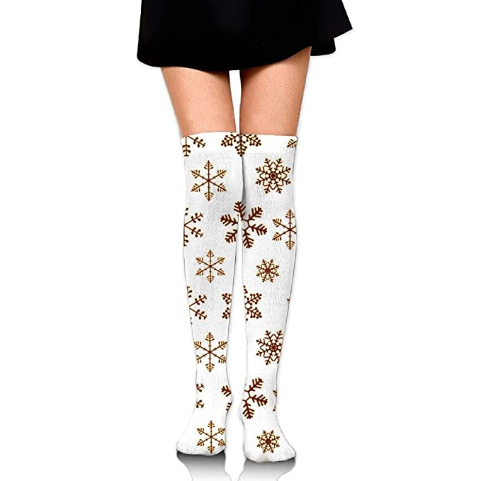 7157a9abfb7 Womens Gold Snowflake Sexy Long Socks Over The Knee High Boot Socks Cosplay  Socks at Amazon Women s Clothing store