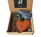 #2: Twin Saints Leather Heart Ornament. Third Anniversary Gift.