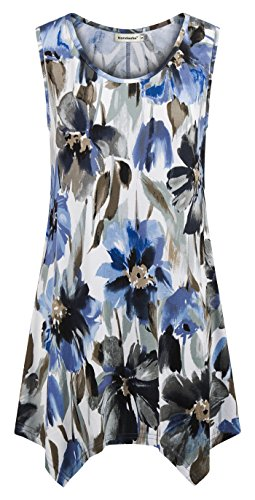 Summer Tanks for Women,Nandashe Cute Plus Size Sexy Crewneck Cool Thin Handkerchief Asymetrical Hem Sleeveless Soft Comfortable Flows Dressy Hi Lo Aline Embellished Blouses for Juniors Blue Black (Embellished Scoop Neck Top)