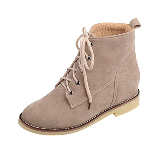 f67e5cd4950ab Image Unavailable. Image not available for. Color: Sunmoot Womens Wedges Boots  Flat Lace Up Casual Warm Snow Ladies' Suede Ankle Boots