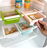 Refrigerator Organizer Rack Egg Storage Basket Refrigerator Snacks Storage Box Kitchen Shelves (Green)
