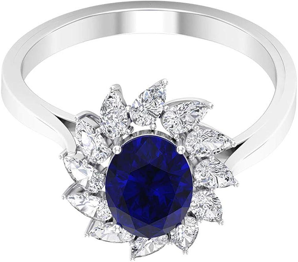 Anillo de boda de zafiro azul certificado SGL de 1,55 ct, 0,72 ct en forma de pera, anillo solitario de piedra preciosa de forma ovalada, 10K Oro