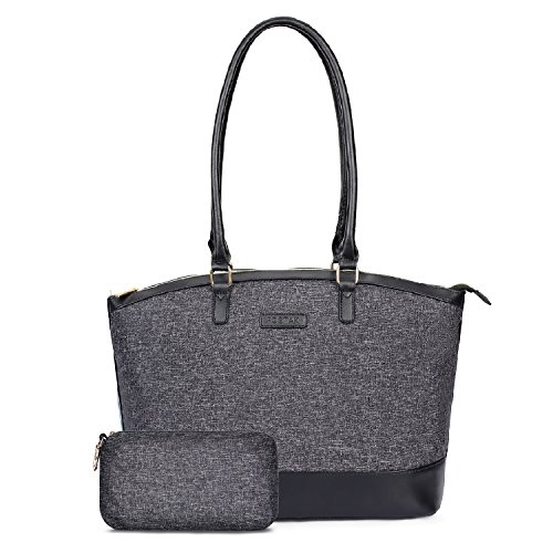 Fashionable Laptop Bags - Womens Tote Bag 15.6 inch Laptop Briefcase Computer Shoulder Bag Fashionable Large Capacity Muti-Functional Satchel Handbag for Business College Outdoor Travel Shopping Casual,with Clutch,Black