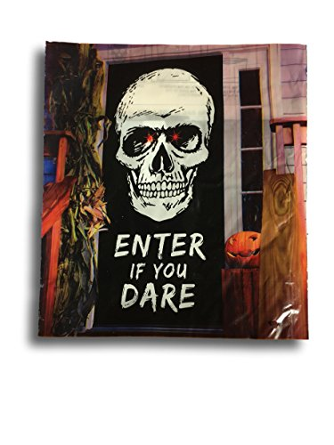 Light Up Glowing Halloween Door Cover Wall Poster for Halloween Decoration or Backdrop Prop (Scary Skull