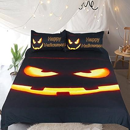 sleepwish spooky halloween pumpkin bedding set 3 piece black pumpkin glow cool duvet cover funny halloween