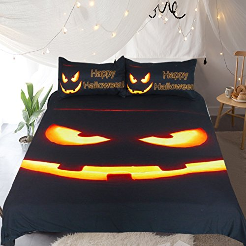 Sleepwish Spooky Halloween Pumpkin Bedding Set 3 Piece Black Pumpkin Glow Cool Duvet Cover Funny Halloween Birthday Gifts Full -
