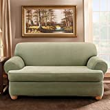 Sure Fit Stretch Stripe 2-Piece - Loveseat Slipcover  - Sage (SF37730)