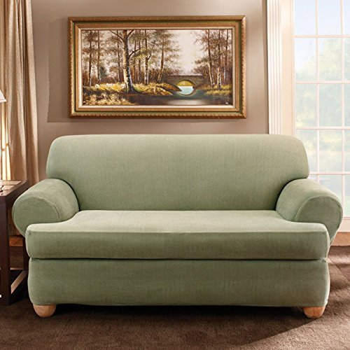 Sure Fit Stretch Stripe 2-Piece - Loveseat Slipcover  - Sage (SF37730) by Surefit