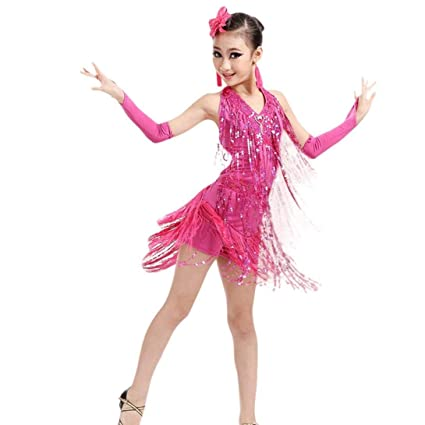 16c885a154fd9 Buy Voberry Voberry Baby-Girl's Latin Dance Dress, Backless Fringe Sequin Salsa  Latin Skating Ballroom Dance Dress Costumes Online at Low Prices in India  ...