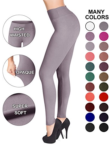 - SATINA High Waisted Leggings - 22 Colors - Super Soft Full Length Opaque Slim (Plus Size, Lilac Gray)