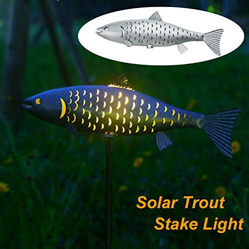 - Solar Garden Lights Metal Fish Decorative Stake for Outdoor Patio Yard Decorations,Warm White LED Solar Path Lights,38.39