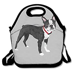 DASENCO Boston Terrier 100% Polyester Zipper Portable Lunch Picnic Handbag Bag Waterproof Insulated Food Container School Office Travel Outdoor Work Lunch Bag Tote