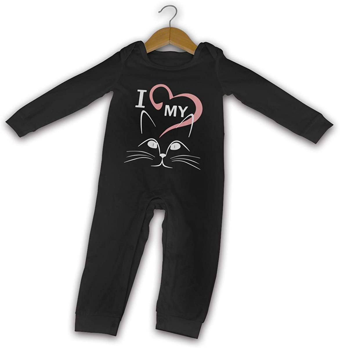 Love My Cat-2 Printed Newborn Baby Boy Girl Bodysuit Long Sleeve Rompers Black