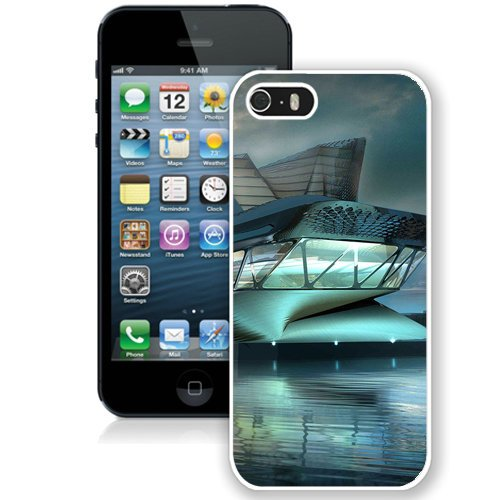 Coque,Fashion Coque iphone 5S Glass Futuristic Building Water Hd blanc Screen Cover Case Cover Fashion and Hot Sale Design