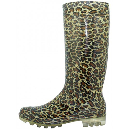 (Shoes8teen Womens Basic Rain Boots Leopard 7)