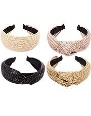 Headbands Womens Fashion Hair Accessories Twist Knot Wide Hand Knitted Statement Summer Retro Grace Elegant Wide Hairbands 4 pcs