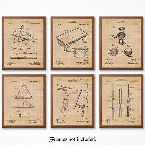Original Art Poster - Original Billiards Patent Art Poster Prints - Set of 6 (Six) 8x10 Unframed Pictures - Great Wall Art Decor Gifts Under $20 for Man Cave, Men's Office, Pool Players, Sports Bar, Game Room, Office