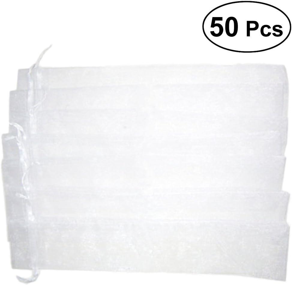 XZANTE 50 Pieces Blanc Cordon de Serrage Organza Pliant Eventail Poche Fete de Mariage Favoriser Cadeau Sacs