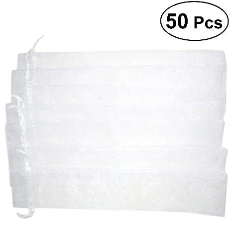 STOBOK Bolsas Organza Blanco para Abanicos 50pcs