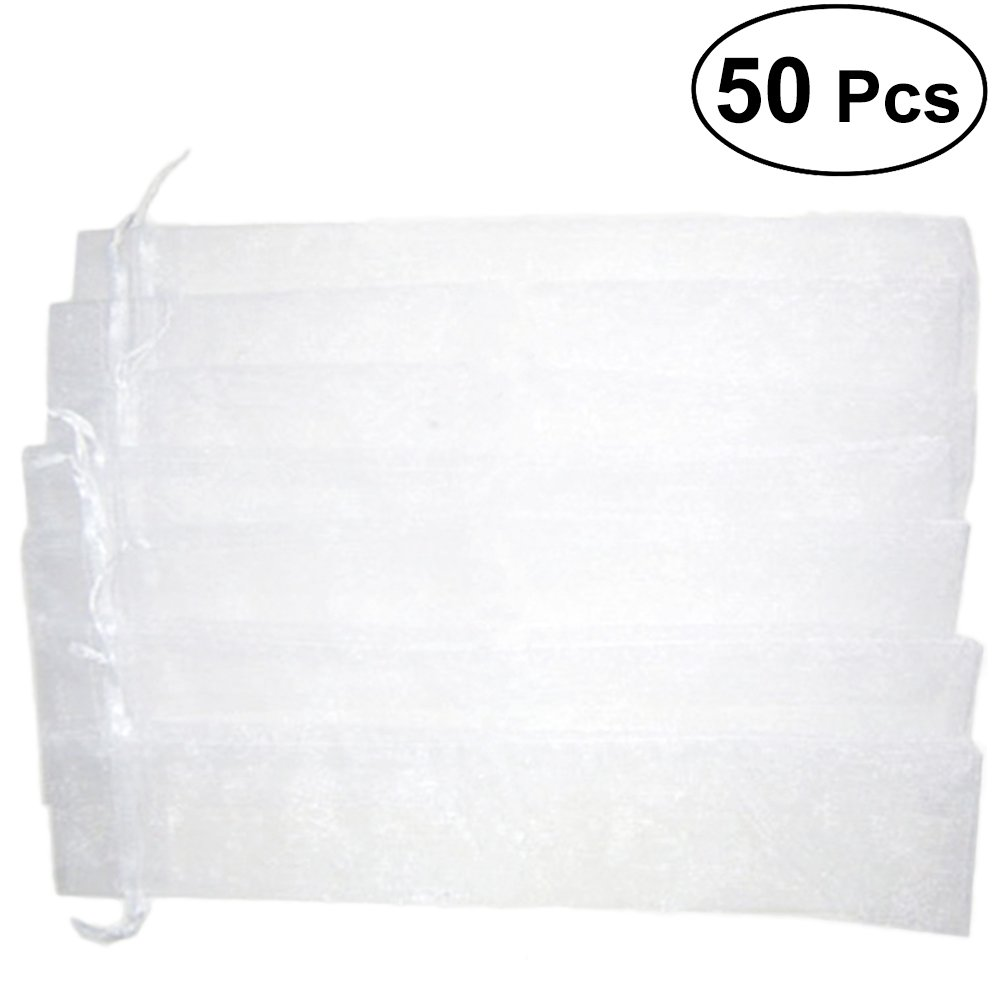 TOYMYTOY 50PCS Drawstring Organza Folding Hand Fan Pouch Party Wedding Favor Gift Bags (White)