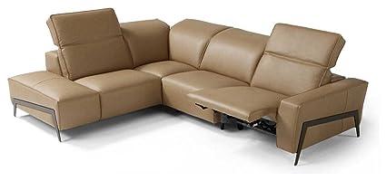 Ju0026M Furniture Ocean Italian Leather Left Facing Sectional Sofa In Miele
