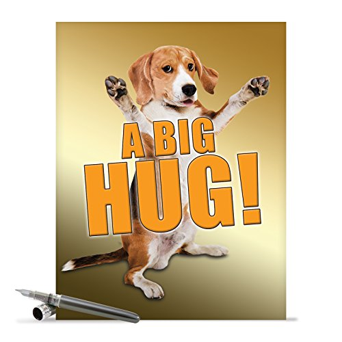 J2741FRB Jumbo Funny Blank Friendship Card: A Big Hug-Dog With Envelope (Extra Large Version: 8.5'' x - Hugs Large