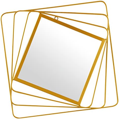 Amazon Brand Rivet Rotating Metal Hanging Wall Mirror, 18.25 Inch Height, Gold Finish