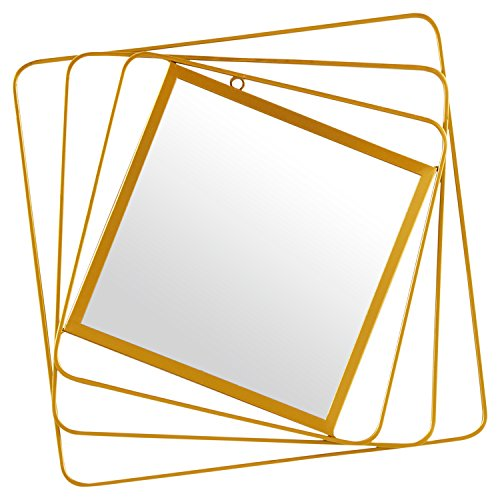 Rivet Rotating Metal Hanging Wall Mirror, 18.25 Inch Height, Gold - Guest Bathroom Midcentury Mirrors