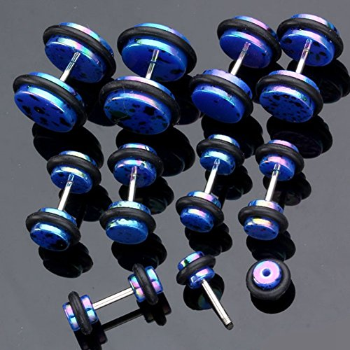 JS Direct - 10pcs Polka Dot Faux Plug Acrylique Ecarteur Expandeur Oreille Elargisseur Fake Tunnel bleu 4 5 6 8 10mm
