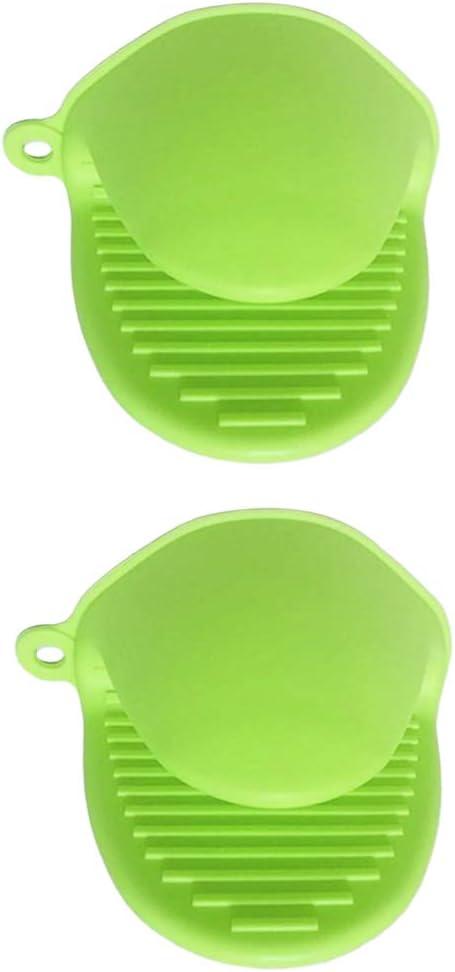 perfeclan 1 Paar Silikon Grillhandschuhe Topflappen Backofenhandschuhe BBQ Handschuhe - Rosa Hellgrün