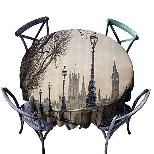 - London Decor Collection Dinning Tabletop DecorView of Big Ben and Houses of Parliament from The Riverside with Retro Street Lights Picture Dust-Proof Round Tablecloth (Round, 60 Inch, Ivory)